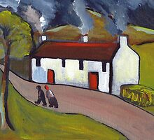 Whitewashed cottages by sword