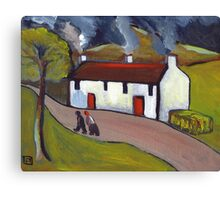 Whitewashed cottages Canvas Print