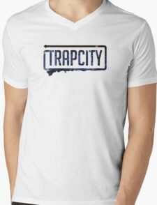 Trap city with background Mens V-Neck T-Shirt