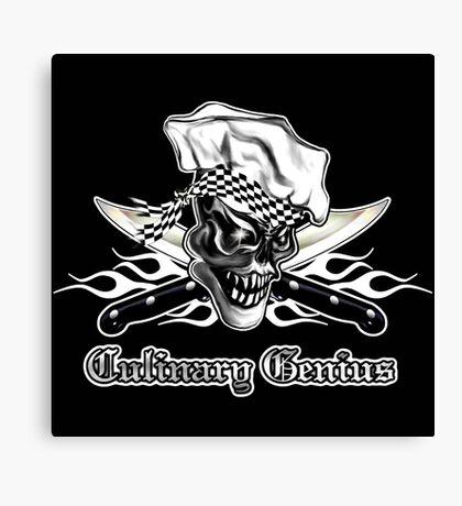 Chef Skull 5: Culinary Genius 3 white flames Canvas Print