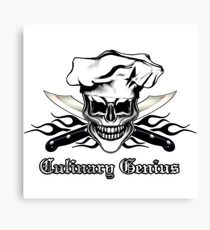 Chef Skull 6: Culinary Genius 3 black flames Canvas Print