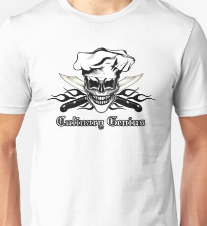 Chef Skull 6: Culinary Genius 3 black flames Unisex T-Shirt