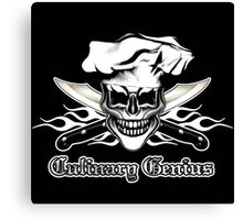 Chef Skull 6: Culinary Genius 3 white flames Canvas Print