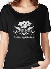 Chef Skull 6: Culinary Genius 3 white flames Women's Relaxed Fit T-Shirt