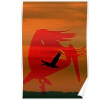 abstract pelican Poster
