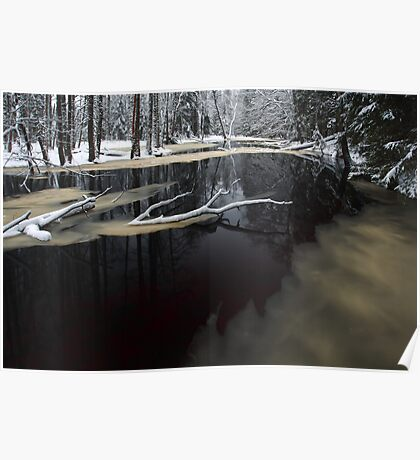 Winter landscape with river Poster