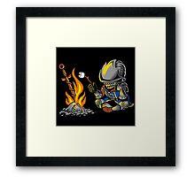 on an open bonfire Framed Print