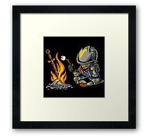 on an open bonfire Framed Print