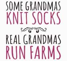 Limited Edition 'Some Grandmas Knit Socks, Real Grandmas Run Farms' T-shirt, Accessories and Gifts by Albany Retro