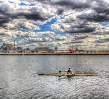 London City Airport Sculler by DavidHornchurch