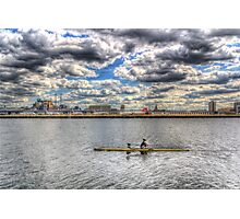 London City Airport Sculler Photographic Print
