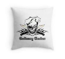 Chef Skull 7: Culinary Genius 3 black flames Throw Pillow