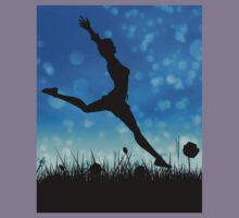 Silhouette of a girl jumping on the meadow Kids Clothes