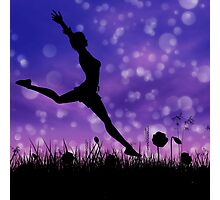 Silhouette of a girl jumping on the meadow 2 Photographic Print