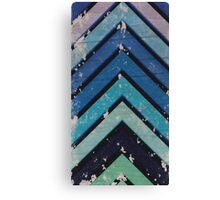 Aged Chevron Cool Blue Canvas Print