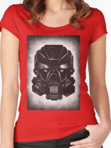 Black Metal Future Fighter on distressed background Women's Fitted Scoop T-Shirt