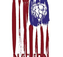 Hops Nation! Hops and Stripes U.S. flag grunge style by Neal Wollenberg