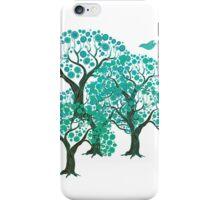 Three decorative trees with birds iPhone Case/Skin