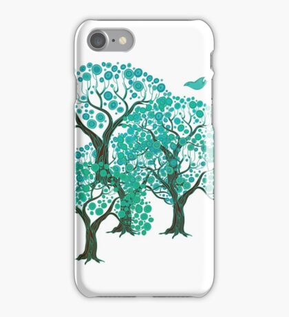 Three decorative trees with birds iPhone Case/Skin