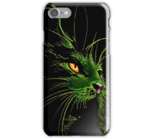 Green Cat Yellow Eye iPhone Case/Skin