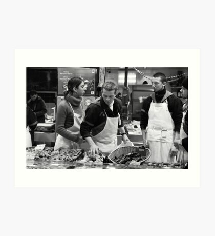 Fish stall, Rue Mouffetard, Paris Art Print