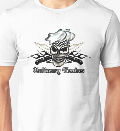 Chef Skull 8: Culinary Genius 3 black flames Unisex T-Shirt