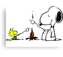Snoopy and Woostock Peanuts Canvas Print