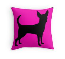 Neon pink black chihuahua silhouette Throw Pillow