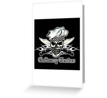 Chef Skull 8: Culinary Genius 3 white flames Greeting Card
