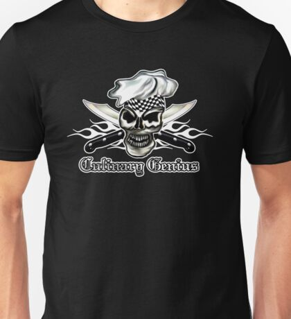 Chef Skull 8: Culinary Genius 3 white flames Unisex T-Shirt