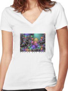 Easter Egg Nest Women's Fitted V-Neck T-Shirt