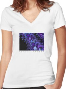 Purple Petals Women's Fitted V-Neck T-Shirt