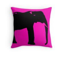 Neon pink black elephant design Throw Pillow