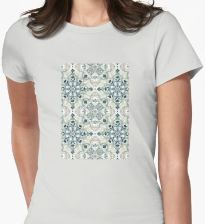 Forest Green & Neutral Taupe Detailed Lace Doodle Pattern Womens Fitted T-Shirt