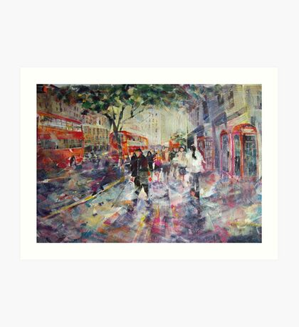 Red London Buses & Phone Boxes - Painting Art Print
