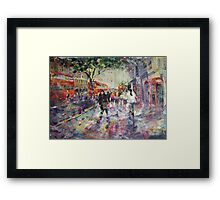 Red London Buses & Phone Boxes - Painting Framed Print