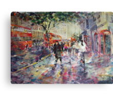 Red London Buses & Phone Boxes - Painting Canvas Print