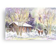 Horses In Voerstetten In Winter Canvas Print