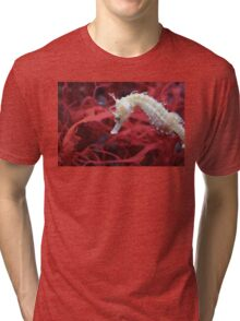 Little Sea Horse on Red  Tri-blend T-Shirt