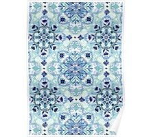 Navy Blue, Green & Cream Detailed Lace Doodle Pattern Poster