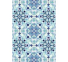 Navy Blue, Green & Cream Detailed Lace Doodle Pattern Photographic Print