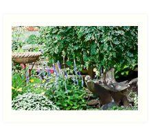 Garden Scene Gouache  Art Print