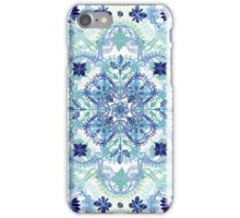 Navy Blue, Green & Cream Detailed Lace Doodle Pattern iPhone Case/Skin