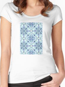 Navy Blue, Green & Cream Detailed Lace Doodle Pattern Women's Fitted Scoop T-Shirt