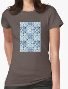 Navy Blue, Green & Cream Detailed Lace Doodle Pattern T-Shirt