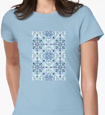 Navy Blue, Green & Cream Detailed Lace Doodle Pattern Womens Fitted T-Shirt