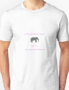 An Elephant Never Forgets (Shopping List) T-Shirt