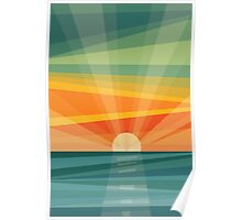Sunset on beach / green field. Geometric abstract Poster