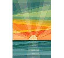 Sunset on beach / green field. Geometric abstract Photographic Print