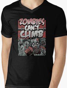 Zombies Can't Climb Mens V-Neck T-Shirt